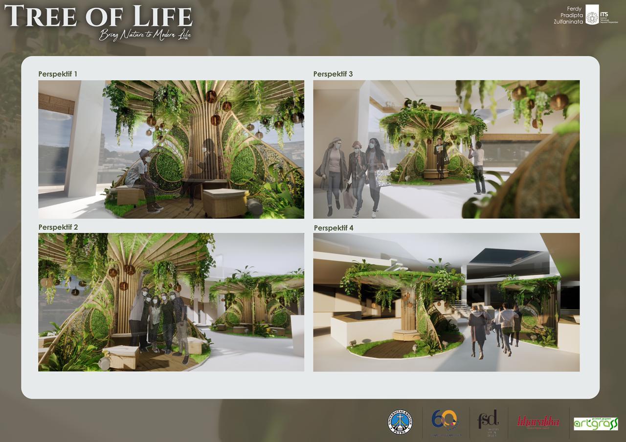 Tampilan desain Tree of Life, karya mahasiswa Desain Interior ITS, dari empat perspektif berbeda