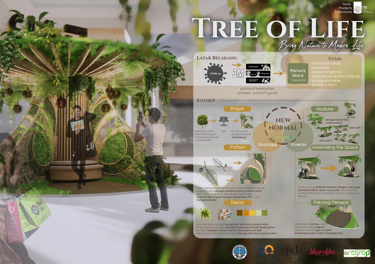 Tampilan poster Tree of Life, karya mahasiswa Desain Interior ITS