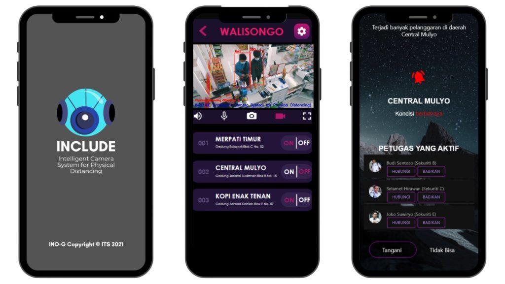 (dari kiri) Tampilan depan Include app, kondisi lapangan yang tampak melalui kamera Include, dan fitur notifikasi dalam Include App