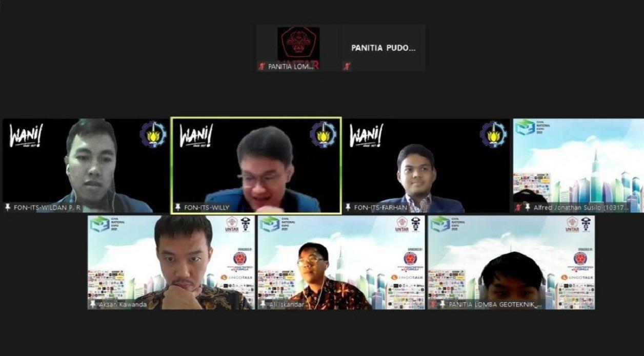 Proses tahap final yang menampilkan Tim Wani ITS saat mempresentasikan karyanya kepada dewan juri Civil National Expo 2021 secara daring