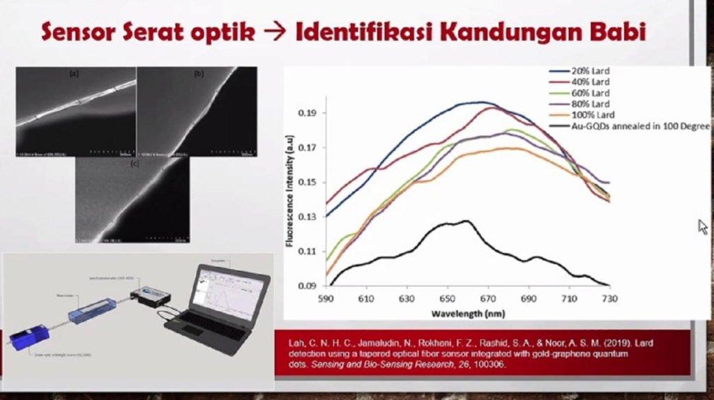 Hasil perubahan daya dan spektrum cahaya yang diujikan sampel produk babi