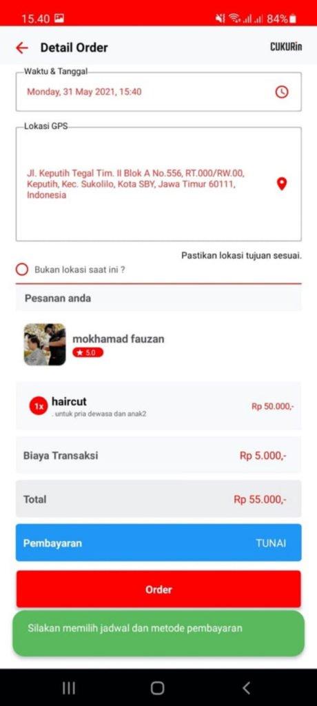 Salah satu contoh tampilan dari aplikasi Cukurin Indonesia, startup mahasiswa ITS