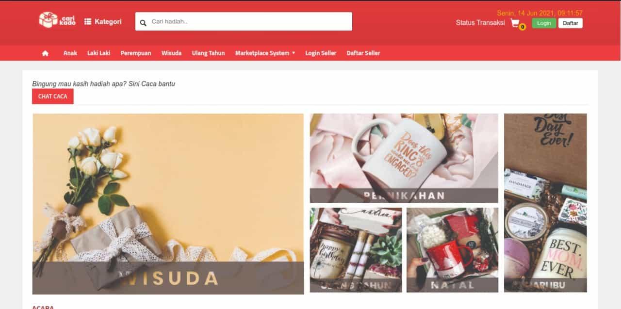 Tampilan laman marketplace CariKado, startup karya mahasiswa ITS yang berhasil terdanai ASMI 2021