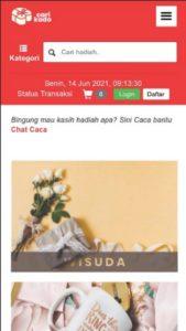 Tampilan marketplace CariKado dari smartphone