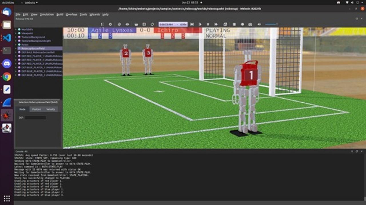 Bentuk tampilan simulator lomba sepakbola robot humanoid yang diikuti Tim Ichiro ITS