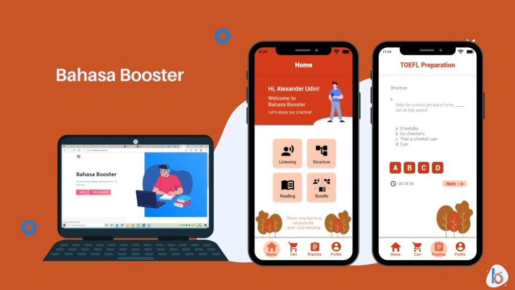 (dari kiri) Tampilan situs Bahasa Booster dan tampilan aplikasinya yang sedang dikembangkan