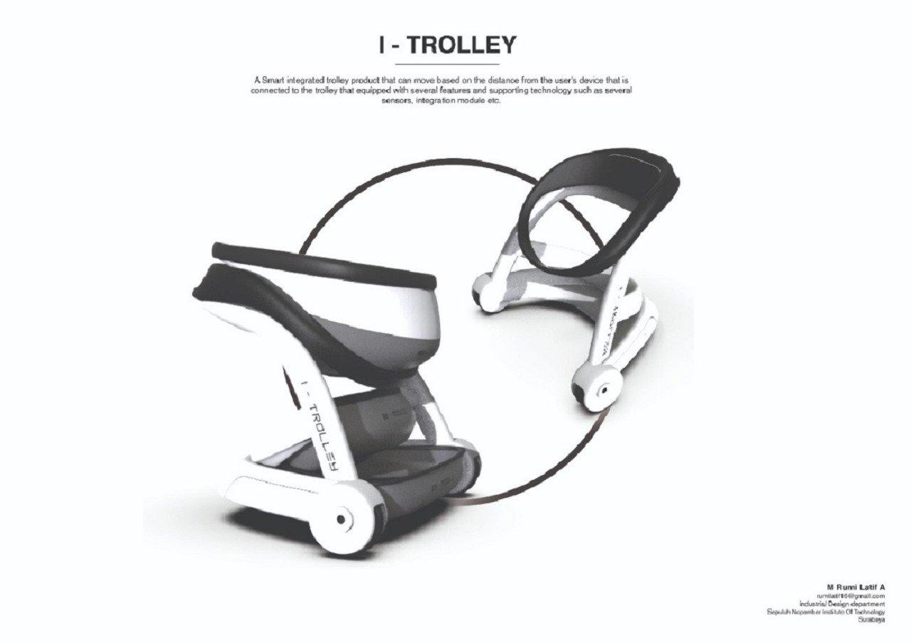 Desain I-Trolley sebagai produk troli yang terintegrasi cerdas dengan sistem IoT milik mahasiswa ITS