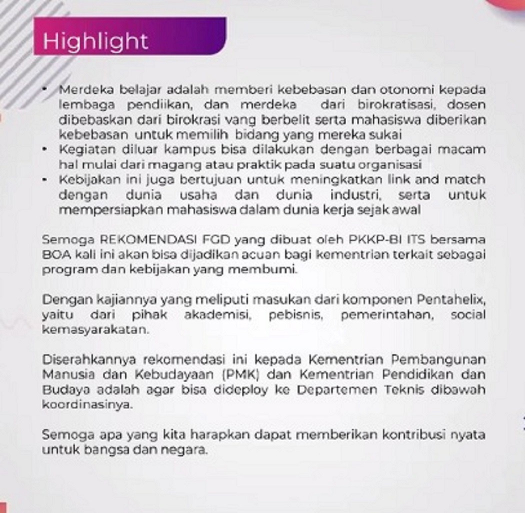 Important values contained in the policy recommendations with the theme Merdeka Campus Speed Up ABGS++