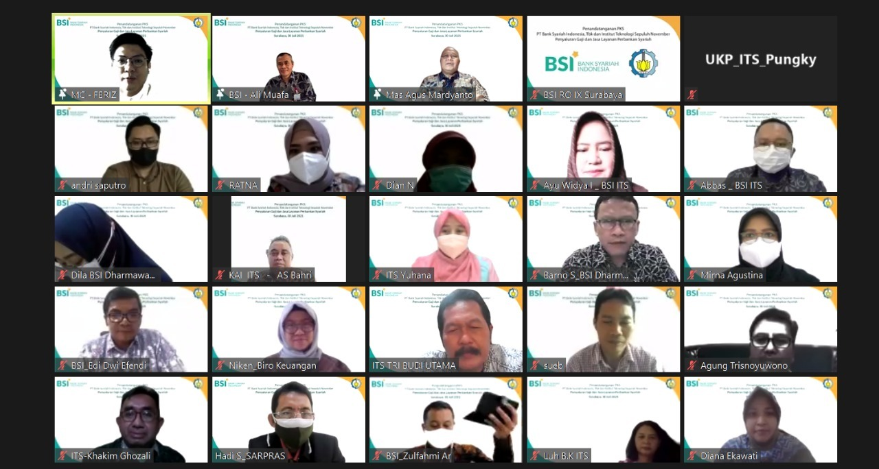 Participants who attended the signing of the Cooperation Agreement (PKS) between ITS and Bank Syariah Indonesia (BSI) virtually