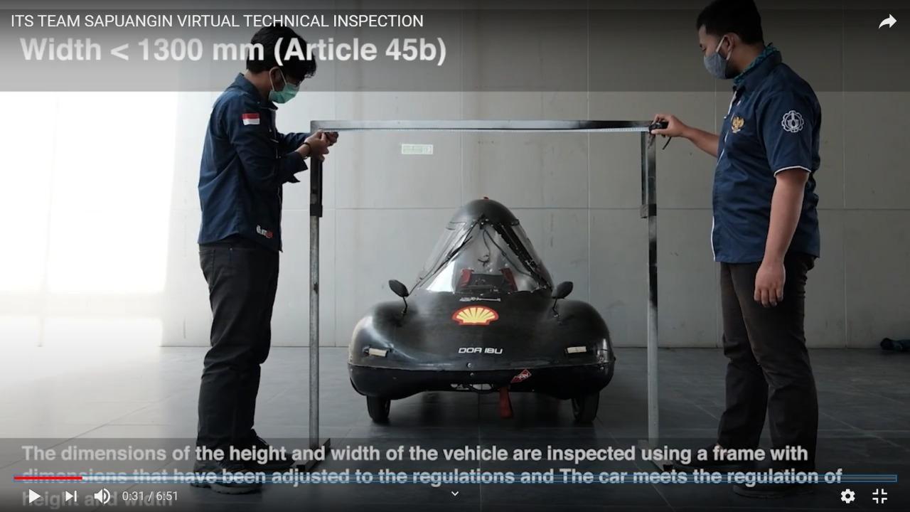 Tim Sapuangin ITS sedang melakukan Virtual Technical Inspection melalui video saat perlombaan Shell Eco-Marathon 2021
