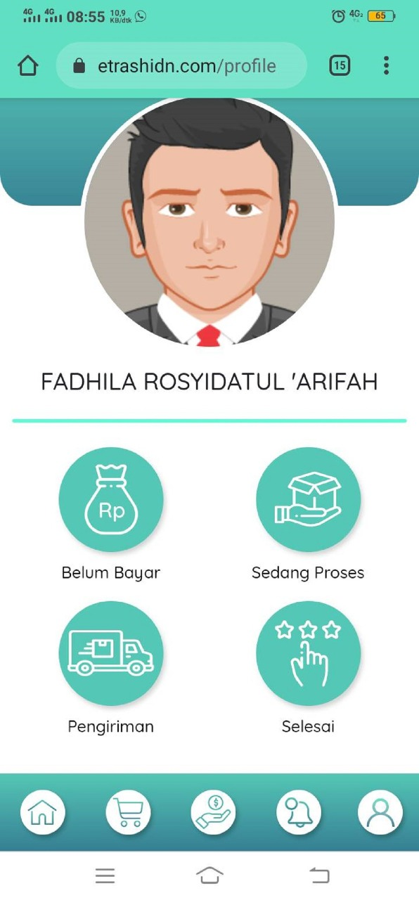 Tampilan fitur account dalam aplikasi E-Trash, rancangan tim mahasiswa ITS