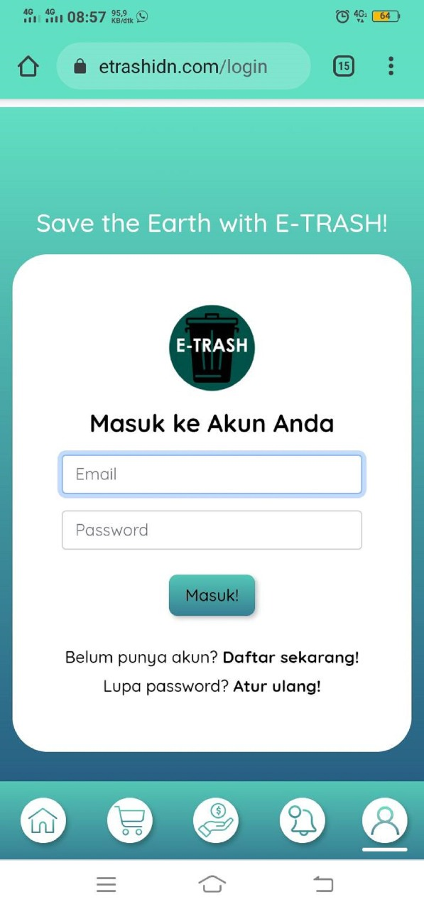 Tampilan halaman login E-Trash, rancangan tim mahasiswa ITS