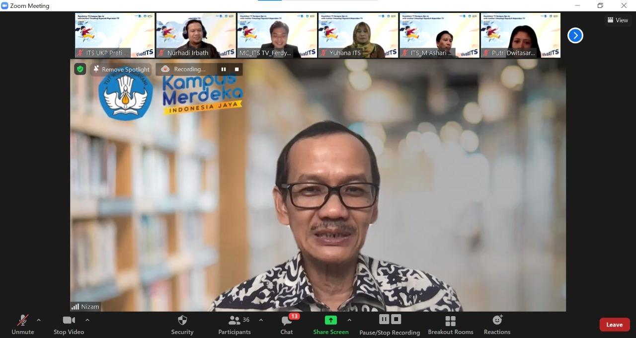 Direktur Jenderal Pendidikan Tinggi Prof Ir Nizam MSc DIC PhD IPU ASEAN Eng saat membuka Roadshow TV Kampus bersama ITS TV