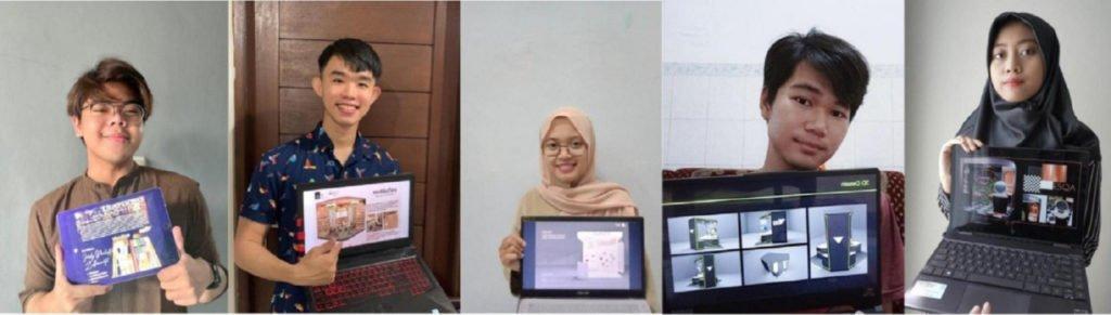 (dari kiri) Ferdy Pradipta Zulfaninata, Daniello, Novita Fijayarty, Awanda Agung Baskara, dan Reskia Astrifa Nurshabrina yang menunjukkan masing-masing karya desainnya