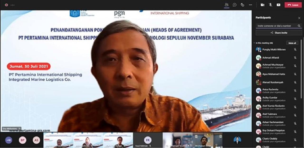 Direktur Utama PT Pertamina International Shipping Erry Widiasto turut memberikan sambutan secara virtual