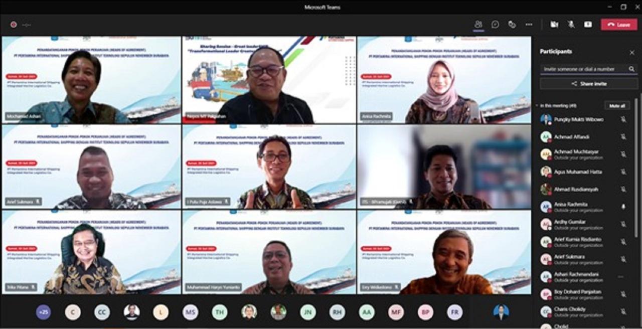 Para undangan yang hadir secara virtual turut menyaksikan penandatanganan HoA antara ITS dengan PT Pertamina International Shipping
