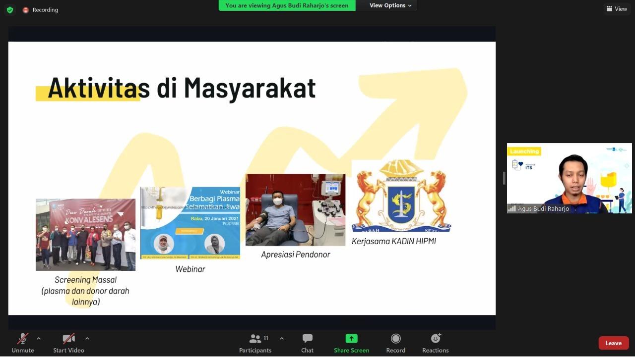 Beberapa aktivitas yang dilakukan oleh Tim PlasmaHub ITS untuk meningkatkan awareness masyarakat mengenai donor Plasma Konvalesen dan Covid-19