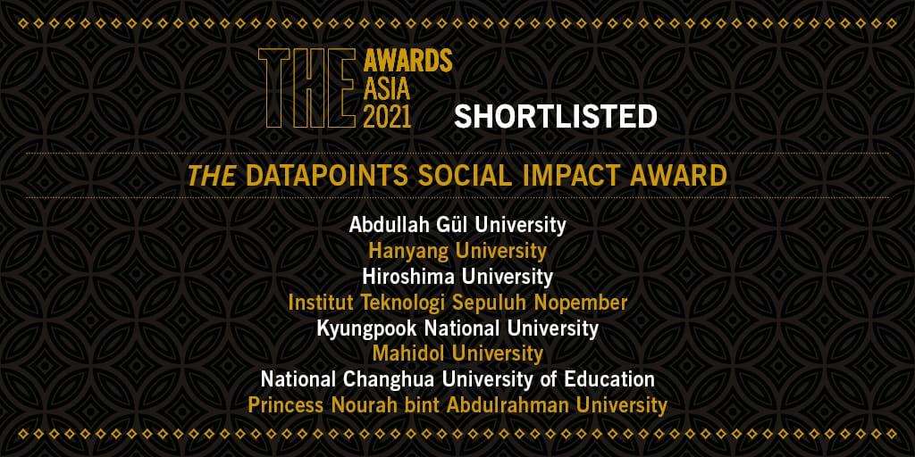 ITS sebagai satu-satunya perguruan tinggi di Indonesia yang masuk dalam nominasi THE DataPoints Social Impact Awards