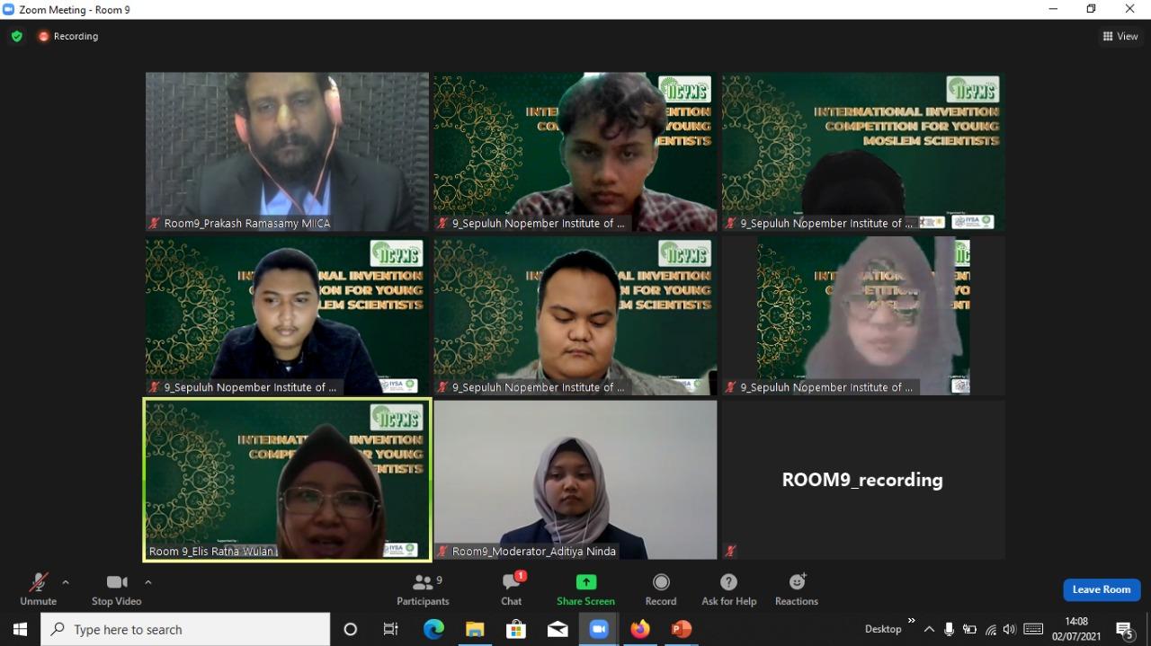 Tim IMM AWAN ITS saat sedang memaparkan inovasinya dalam ajang International Invention Competition for Young Moslem Scientists (IICYMS) 2021