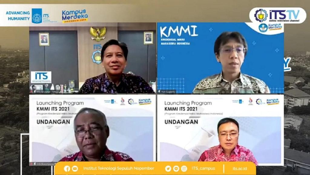 (atas dari kiri) Prof Dr Ir Mochamad Ashari MEng dan Yon Sugiarto SSi MSc, (bawah dari kiri) Prof Dr Ir Adi Soeprijanto MT dan Obert Hoseanto saat launching program KMMI ITS 2021