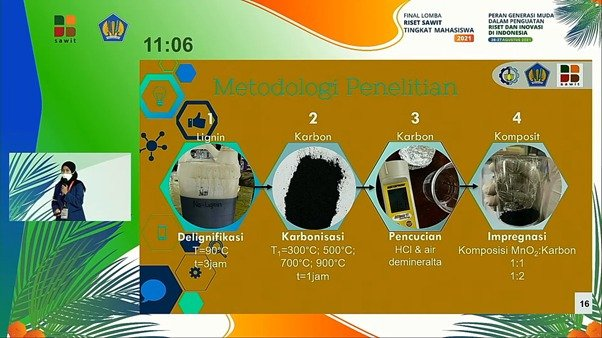 Cininta Nareswari ketika mempresentasikan metodologi penelitian riset pemanfaatan limbah tandan kosong kelapa sawit sebagai bahan baku material baterai