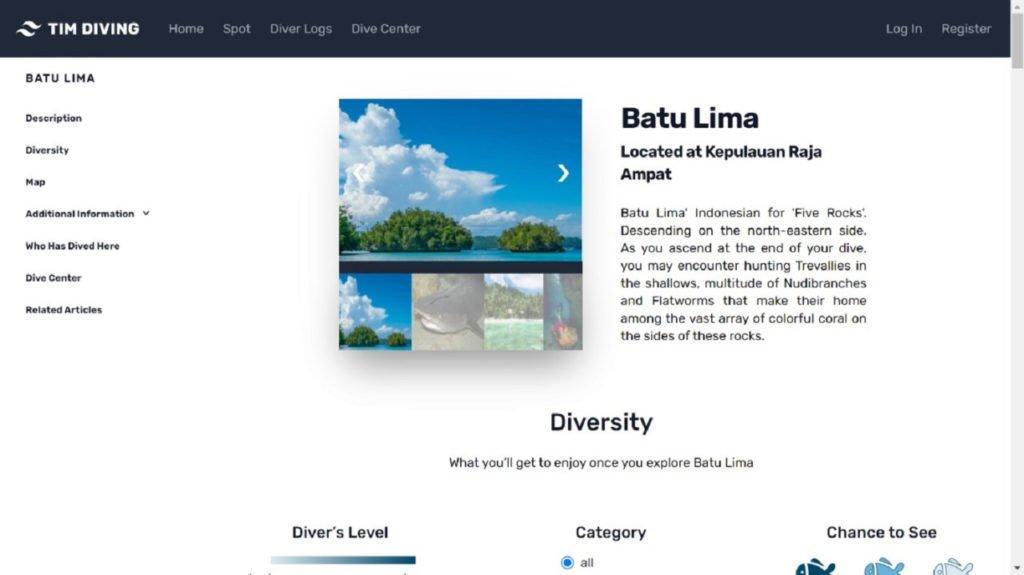 Halaman website diving karya tim Abmas ITS yang menampilkan detail dari sebuah titik selam