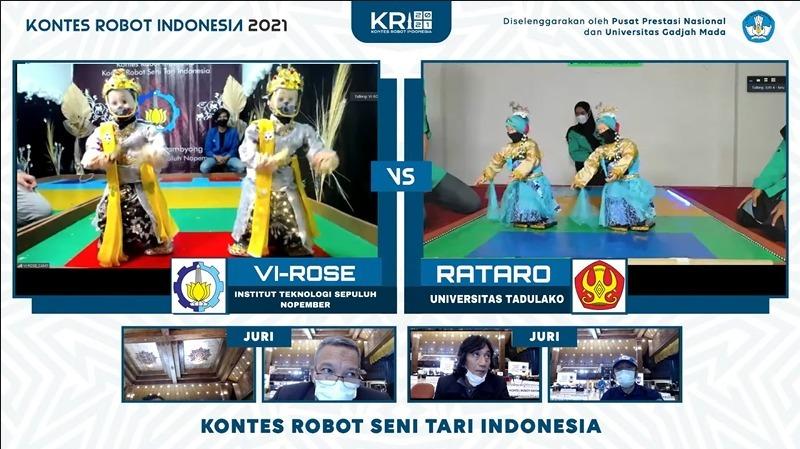 Robot dari tim Vi-Rose ITS (kiri) saat penampilan secara daring pada kategori KRSI di KRI 2021 (diambil dari kanal youtube UGM)