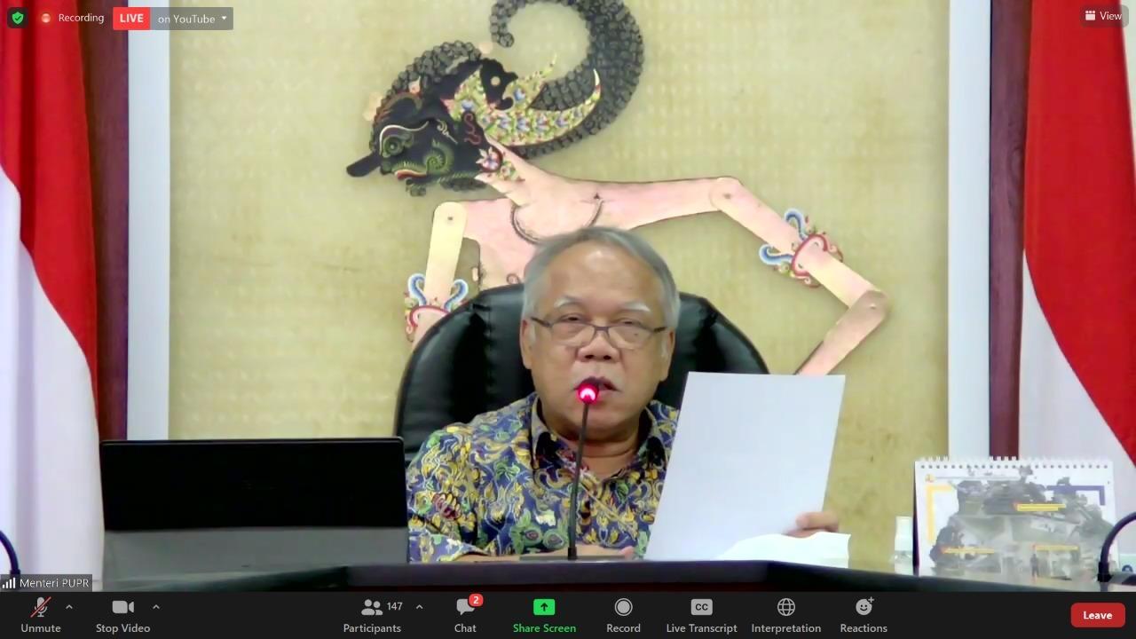 Menteri PUPR Dr Ir M Basuki Hadimuljono MSc saat memberikan sambutan peluncuran Incubits secara virtual