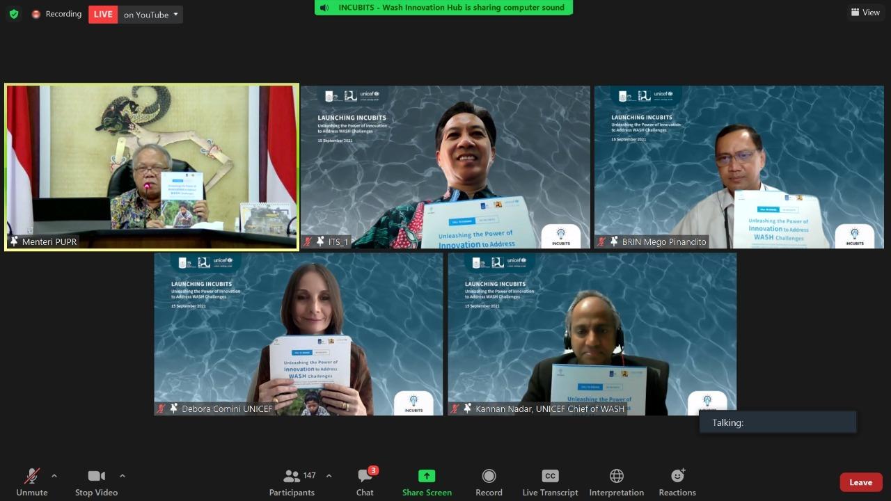 Rektor ITS bersama dengan Menteri PUPR, perwakilan dari UNICEF, serta perwakilan BRIN saat peluncuran resmi Incubits yang dilakukan secara virtual