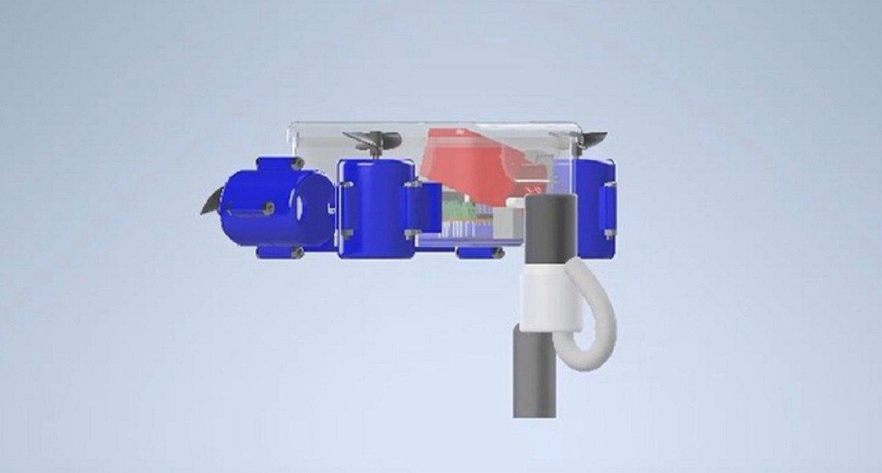 Tampilan 3D desain robot Glaucus Atlanticus milik Tim Banyubramanta ITS