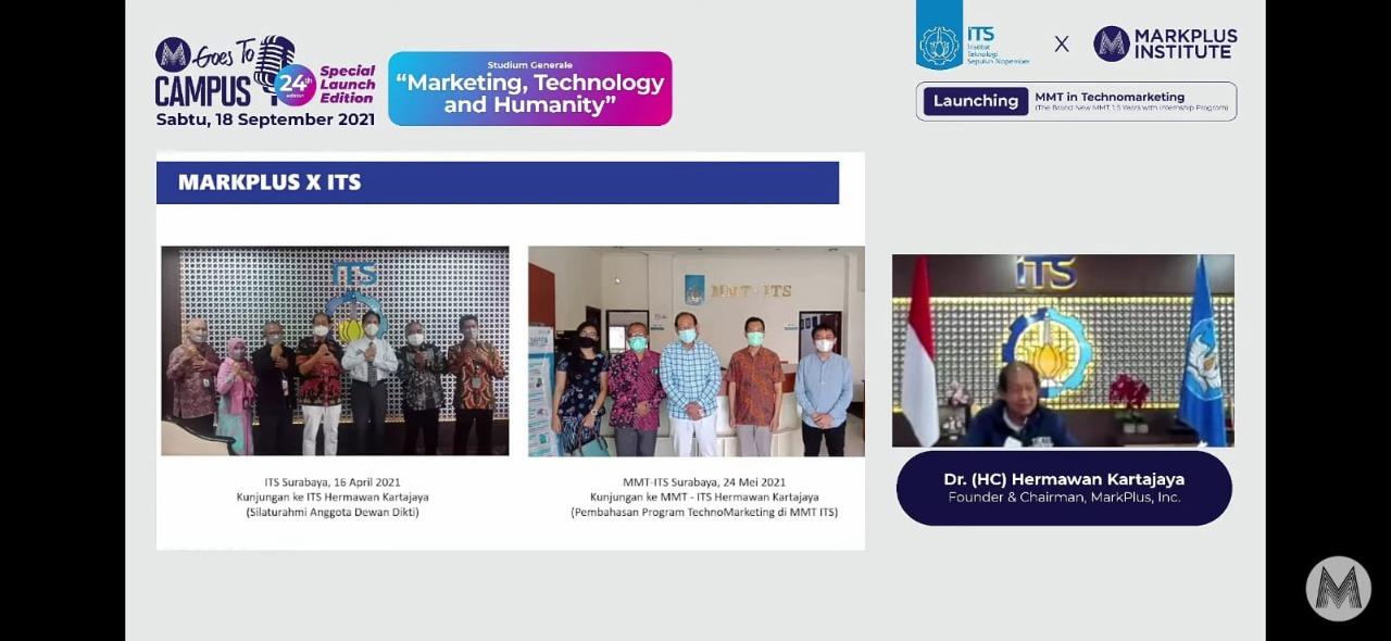 Pemaparan program dalam sesi talkshow webinar oleh Dr (HC) Hermawan Kartajaya