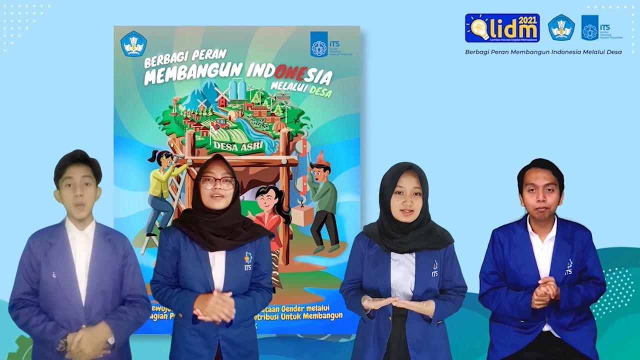Tim GenTech terdiri atas (dari kiri) Muhammad Akmal Rishwanda, Rohmawati Dwi Anggreini, Zahra Fayyadiyati, dan Fian Awamiry Maulana saat menjelaskan isi poster digital karya timnya