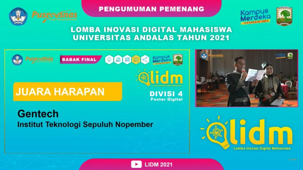 Pengumuman juara Divisi Poster Digital pada ajang LIDM 2021 oleh Puspresnas yang diadakan secara daring