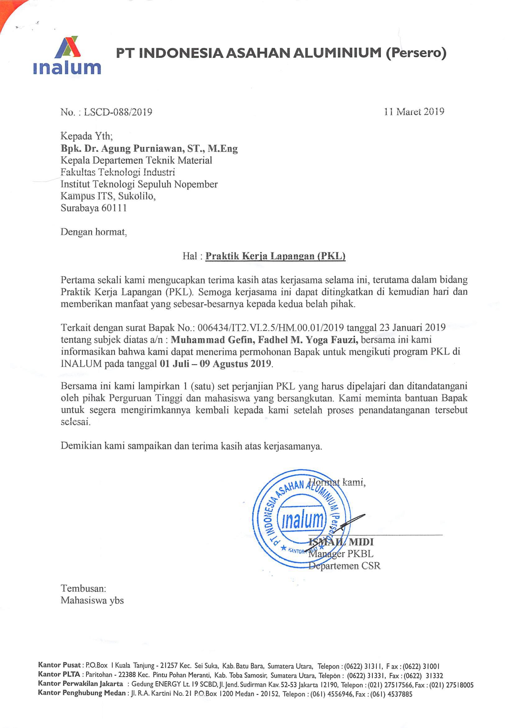 Pt Indonesia Asahan Aluminium Inalum Departemen Teknik