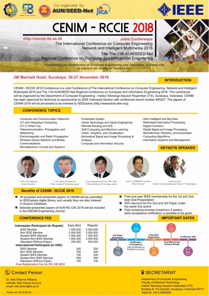 Join Conference CENIM – AUN RC CIE 2018