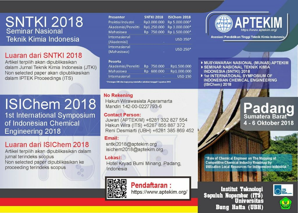 International Symposium of Indonesian Chemical Engineering 2018