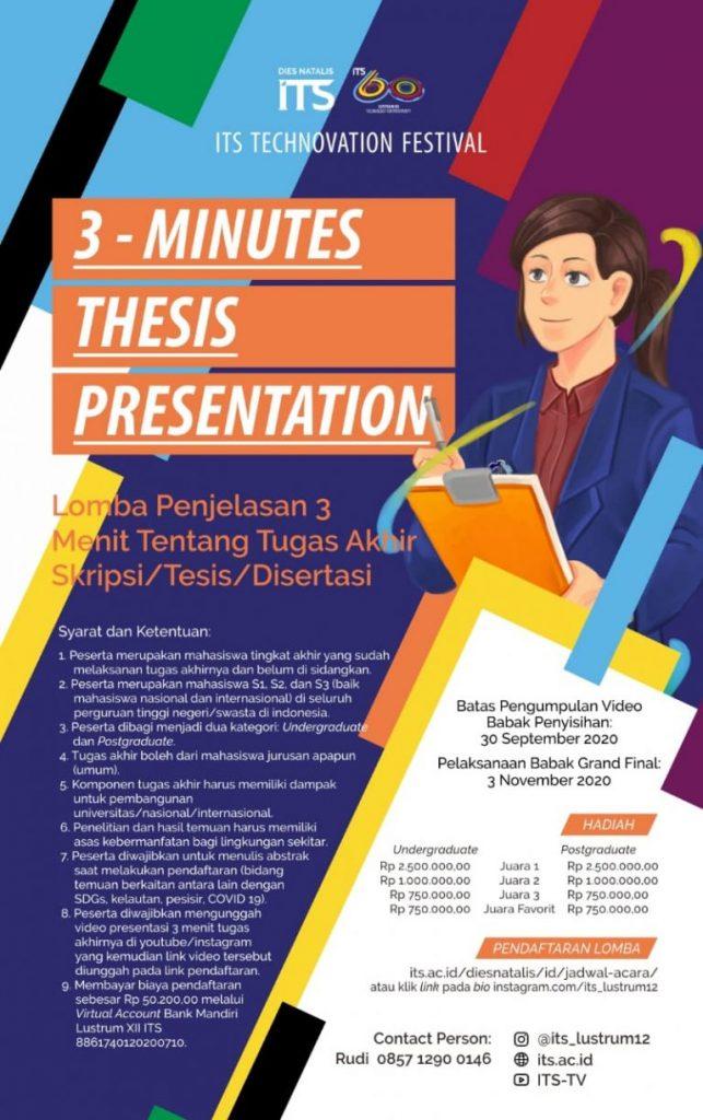 Lustrum ITS : Lomba 3 Minutes Thesis Presentation