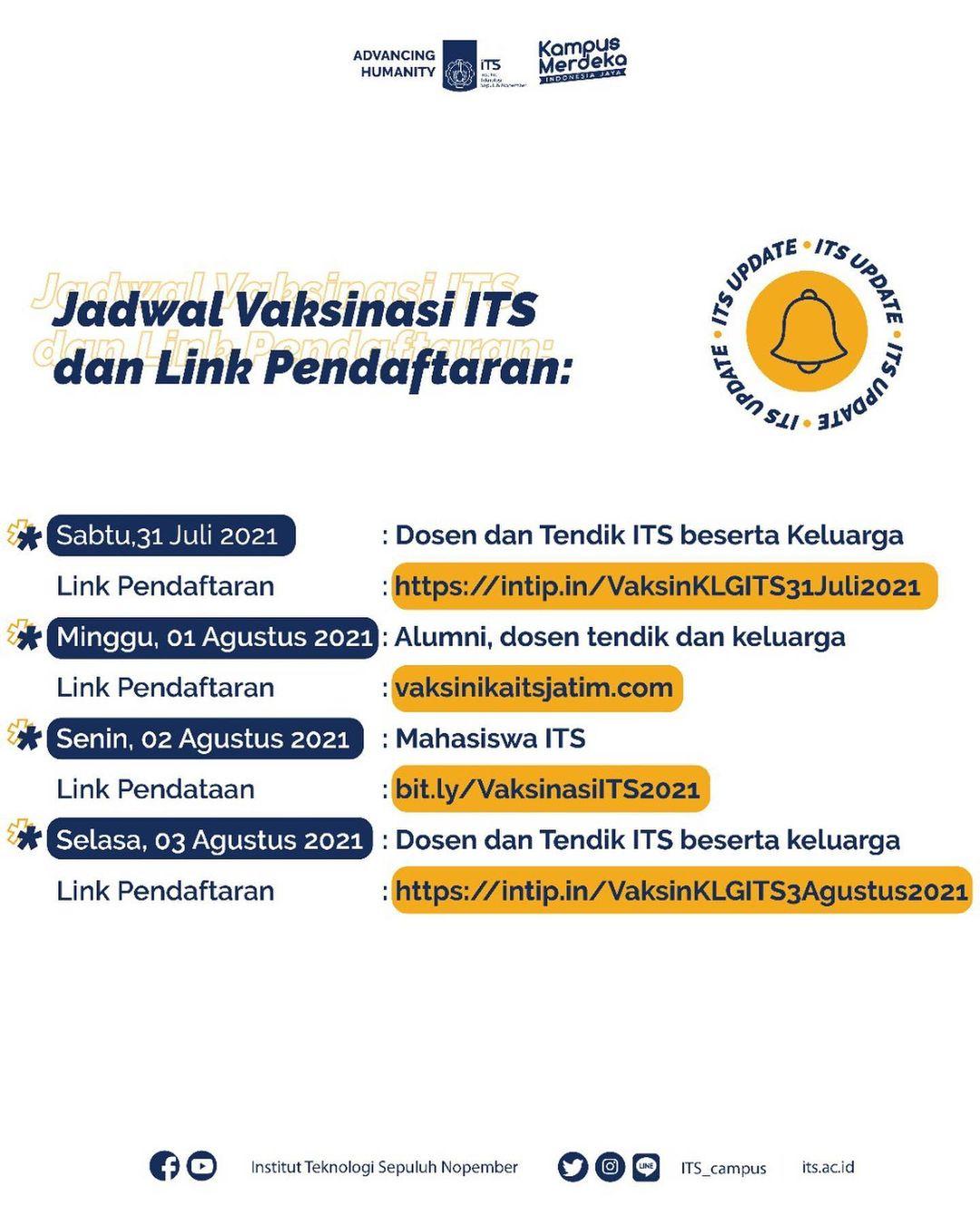 Jadwal Vaksinasi ITS dan Link Pendaftaran