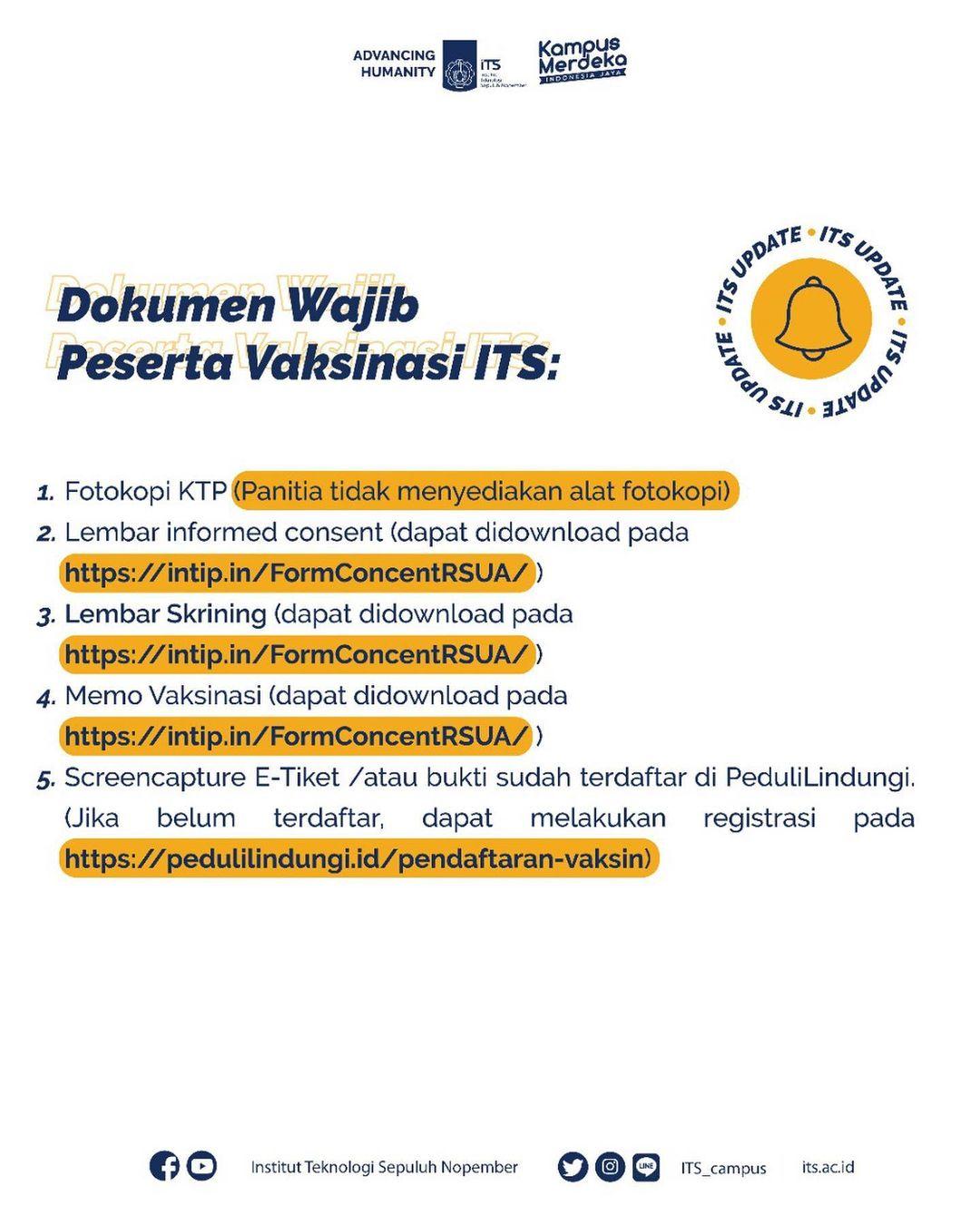 Dokumen Wajib Peserta Vaksinasi ITS